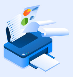 Office printer icon isometric style vector
