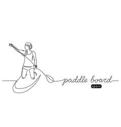 paddle board one line drawing vector image