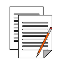 Paper documents with pencil vector