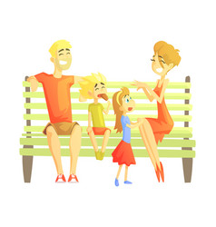 Parents son and daughter sitting on park bench vector