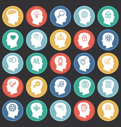 people thoughts icons set on color circles black vector image
