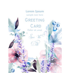 Pink and purple flowers watercolor card vector