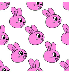 pink shocked bunny seamless pattern textile print vector image