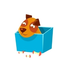 Puppy Hiding In Box Surrounded By Apple Cores vector
