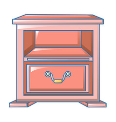 Red nightstand icon cartoon style vector