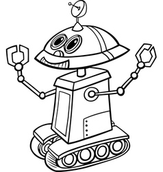 robot cartoon for coloring vector image