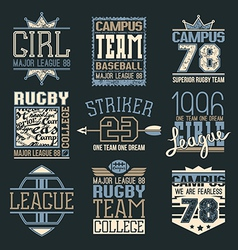 Rugby and baseball team college emblems vector image vector image