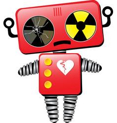 Sad broken hearted robot vector