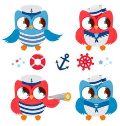 Sailor owls marine nautical set vector