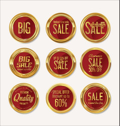 sale retro vintage gold and red badges and labels vector image