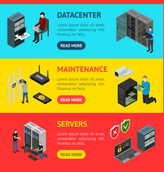 server hardware banner horizontal set isometric vector image