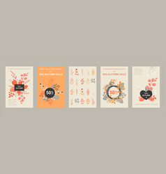 set banners or flyers for autumn sale vector image