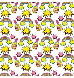 set icons pop art style pattern vector image