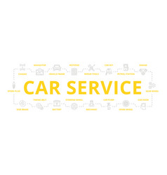 Set of car service and auto repair thin vector