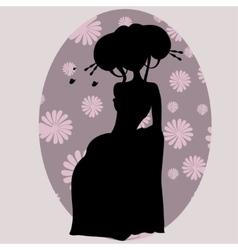 silhouette of a geisha in kimono vector image