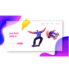 skateboarding website landing page skating vector image
