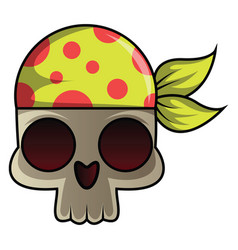 skull with bandana on white background vector image