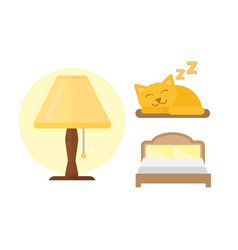 Sleep icons lamp bed set vector