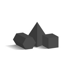 Square pyramid pentagonal prism cube 3d shapes vector