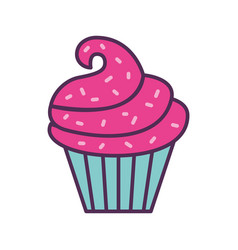 sweet and delicious cupcake vector image