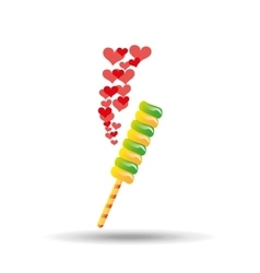 sweet lollipop with hearts red icon vector image
