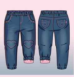 Tech sketch denim pants vector
