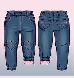 tech sketch of denim pants vector image