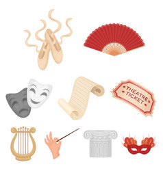 theater set icons in cartoon style big collection vector image