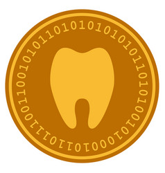 Tooth digital coin vector
