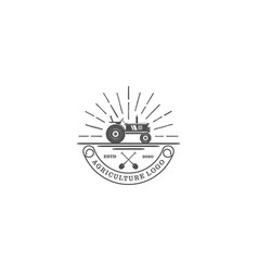 Tractor logo for agriculture industrial - farming vector