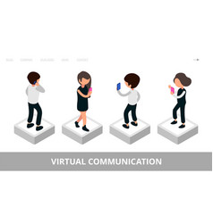 virtual communication landing social media vector image