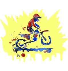 Watercolor motocross rider vector