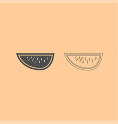 watermelon dark grey set icon vector image