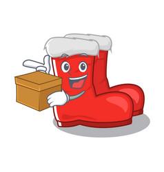 With box santa boots on cartoon shoe rack vector