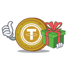 With gift tether coin mascot cartoon vector