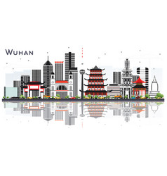 Wuhan china city skyline with gray buildings and vector