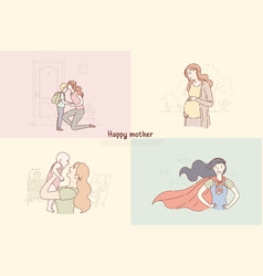 Young mothers with children mom send son vector