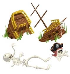 Ancient ruined ship and skeleton pirate vector image vector image