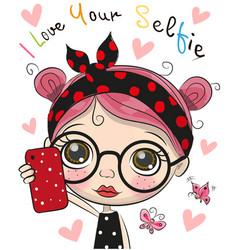 Artoon girl with glasses makes selfie vector