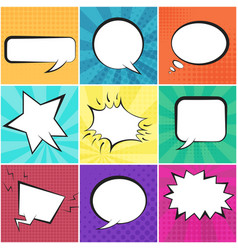 big set of retro speech bubbles with backgrounds vector image