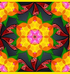 mehndi pattern set of seamless borders on orange vector image vector image