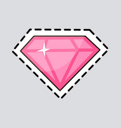 pink diamond cut it out luxurious accessory vector image vector image