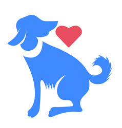 silhouette of blue dog with red heart isolated vector image