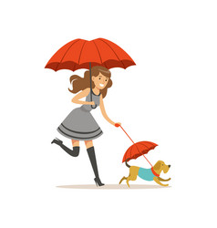 beautiful young woman with red umbrella walking vector image vector image