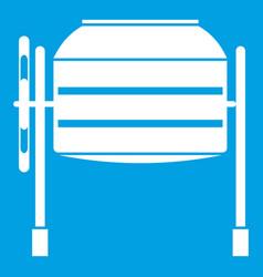 Concrete mixer icon white vector