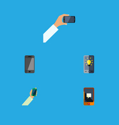 flat icon phone set of telephone keep phone vector image