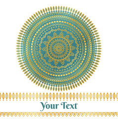 golden and teal mandala background vector image vector image