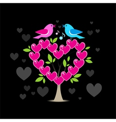 Love tree with two birds vector image vector image