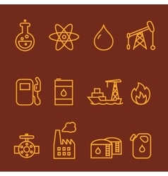 Oil and petrol industry line icon set vector image