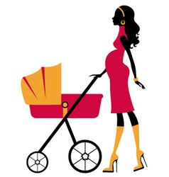 Pregnant woman with baby stroller vector image vector image